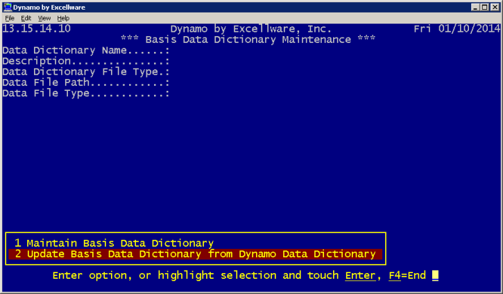 the first option is used to create a folder for the basis data dictionary files if it does not exist define the basis data dictionary files if they do